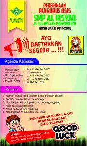 Poster Pendaftaran Pengurus OSIS SMP Al Irsyad Al Islamiyyah Purwokerto